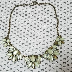 Silver and white gemstone statement necklace